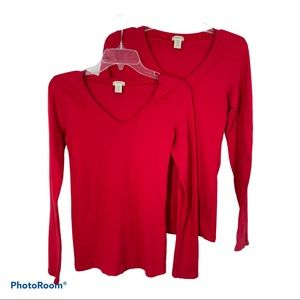 "NEW BOZZOLO ""SET OF 2"" long sleeve Tops, M, Red"